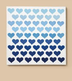 LOVE this ombre hearts canvas art piece! Cute idea for a little girl or teen's room! #creativitymadesimple