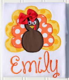 Isnt she cute? This little turkey is perfect for Thanksgiving! You may add a monogram if you wish, just let me know the name when checking out.