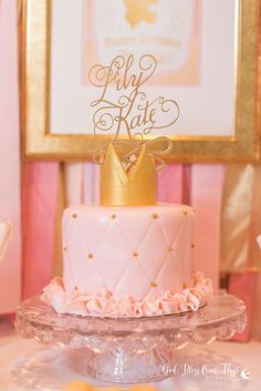 Lovely cake at a pink and gold princess birthday party! See more party planning ideas at CatchMyParty.com!