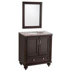 Home Decorators Collection La Touche 30 in. W Vanity in Chocolate with Stone Effects Vanity Top in Cold Fusion with White Basin and Wall Mirror-LT30P3-CH - The Home Depot