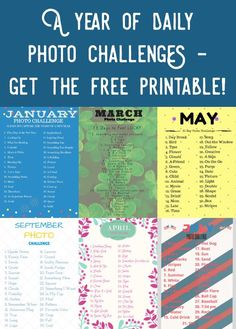 Grab your FREE printable for a daily photo challenge! This includes twelve months, 365 days. Take a new picture according to the theme and have fun! via @diy_candy