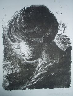 Robbert Ruigrok, 'Profile of gril in counter light', 1980. Lithography.
