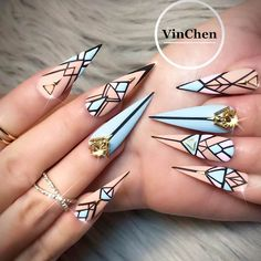 30 Fab Ideas for Stiletto Nails Designs: Create Your Look ❤ Geometric Nail Art For Stilettos picture 2 ❤ Get your daily dose of nailspiration with our collection of designs for stiletto nails. These ideas will show you the best ways to create statement nails. https://naildesignsjournal.com/stiletto-nails-hip-ideas/ #nails #nailart #naildesign #stilettonails