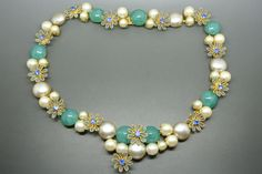 Vintage Rare Christian Dior 1967 faux pearl blue gripoix glass flower necklace in Jewellery & Watches, Vintage & Antique Jewellery, Vintage Costume Jewellery, Unknown Period   eBay
