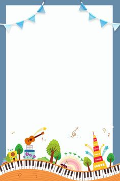Various Instruments And Small Houses Piano Cute Literary Small House Images, Small Houses, Houses Houses, School Border, Free Printable Stationery, Kids Background, Birthday Frames, Patterned Sheets, Borders For Paper