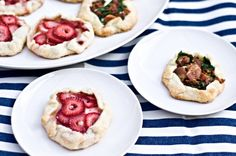 Mini Galettes {Strawberry Brie & Bacon Goat Cheese}