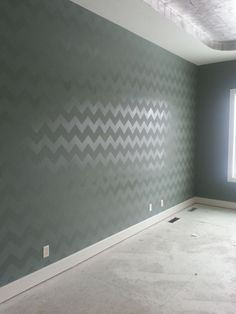 base paint the walls in a HIGH GLOSS BASE COLOR first. Then we would still use the chevron stencil with flat paint in the same color. Skip the clear coat. Trust me on this.
