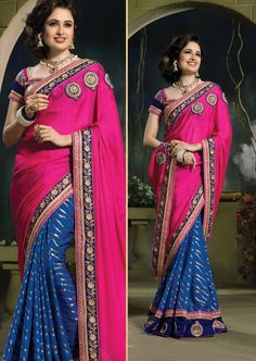 Pink Color Designer Party Wear Saree With Blouse From Skysarees.