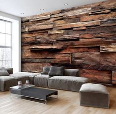 Wall mural wood optics wood wall non-woven wallpaper murals 3 colors Living Room Designs, Living Room Decor, Bedroom Decor, Home Interior Design, Interior Decorating, 3d Wall Murals, Wooden Walls, Brick Walls, House Design