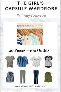 Get dressed in half the time! Now, your daughter, granddaughter or niece can look great with The Girls Capsule Wardrobe: Fall 2017 Collection. All the Back To School outfits she'll need for the Fall season! Capsule Wardrobe Mom, Fall Wardrobe, Kids Wardrobe, Wardrobe Ideas, Organizing Wardrobe, Capsule Outfits, Travel Wardrobe, Minimalist Wardrobe, Minimalist Fashion