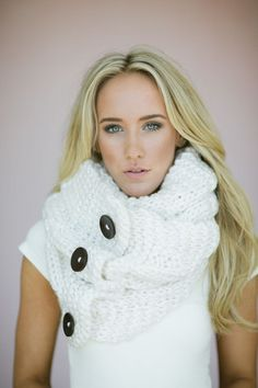 Knitted Button Infinity Loop Scarf
