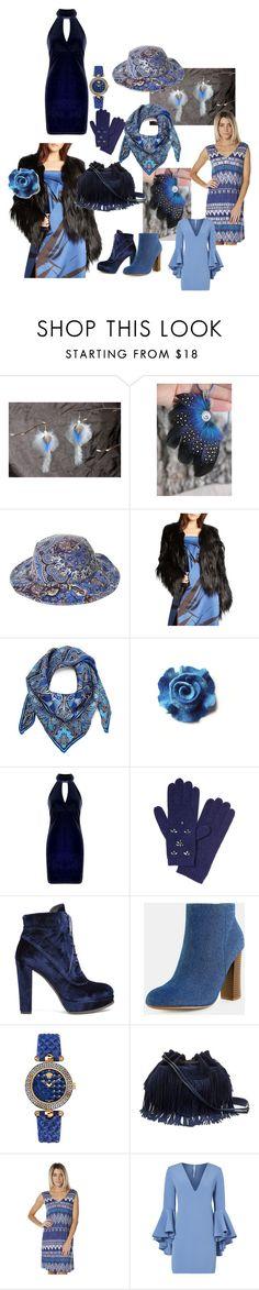 """Elegant blue"" by nastasy-eu ❤ liked on Polyvore featuring Billabong, Halston Heritage, Liberty, Boohoo, Banana Republic, Stuart Weitzman, Versace, Diane Von Furstenberg, Roxy and Milly"