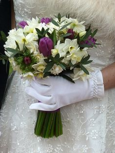 Early spring brides bouquet of scented Narcissi, Purple Anemones and Tulips  by www.breconblooms.com