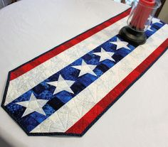 Patriotic Table Runner Quilt- Bright Red, White and Blue Quilted Table Runner, 4th of July, Independence Day Party Decor by QuiltSewPieceful on Etsy