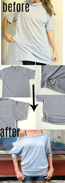 Mens T-shirt Sewn Into Women's Dolman Tee My husband and I are runners so we have a million t-shirts. I love transforming these boxy, oversized tees into something I will.My husband and I are runners so we have a million t-shirts. I love transforming t Trash To Couture, Men's Shirts And Tops, Cut Shirts, Band Shirts, Tank Tops, Shirt Refashion, T Shirt Diy, Clothes Refashion, Diy Tshirt Ideas