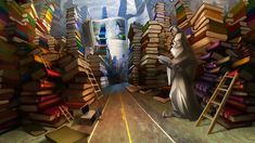 Library by Alexandra Petruk Street Art, Sound Art, Art Abstrait, Book Recommendations, Childrens Books, My Books, Deviantart, Reading, Illustration
