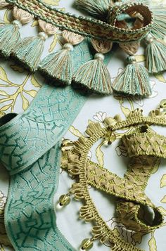Decorative Trimmings. Cords, braids, tapes, ribbons, beaded fringe, bullion fringe, ball fringe, brush fringe, tassels, tiebacks and more! Image: calicocorners.com