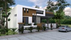 One Story House Plan Sketchup Home Design. This villa is modeling by SAM-ARCHITECT With 1 stories level. It's has 4 bedrooms. One Story House Plan Modern Bungalow House Design, House Front Design, Modern House Plans, Modern Houses, One Storey House, Plans Architecture, Independent House, House Elevation, Front Elevation