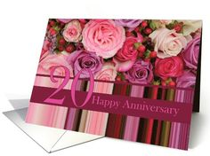 20th Wedding Anniversary Card - Pastel roses and stripes card