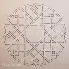 Lisa DeLong - That little tiny glitch in the line work at the top of the drawing is driving me insane. Islamic Art Pattern, Arabic Pattern, Geometry Pattern, Geometry Art, Pattern Art, Pattern Design, Arabic Design, Arabic Art, Motif Oriental