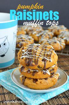 Pumpkin Raisinets Muffin Tops - an easy cake mix muffin tops made with pumpkin and #Raisinets.  #muffin #breakfast  http://www.insidebrucrewlife.com
