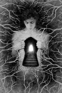 His hands caressed his chest, resting at his heart. His fingers curled into claws as he tore into his flesh, digging deep beneath the surface. He pulled his chest cavity apart revealing a portal to another place. He pulled until the opening was large enough for me to crawl through.