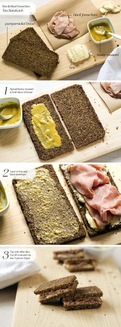 I love the combination of ham, brie and honey mustard. For this tea sandwich, I used pumpernickel bread, but it was way too dense and threw off the balance of the sandwich.