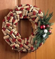 Holiday / Christmas Wine Cork Wreath by sweetingredients on Etsy. , via Etsy.