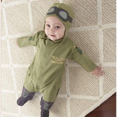 """Fasten your seatbelts; we're going from goggles to giggles when """"Big Dreamzzz"""" takes off for the adventurous baby who wears our Baby Pilot two-piece sleep set, a captivating outfit that earns its wings every time mom suits up baby for the night flight to tomorrow. Features and facts: adorable, olive-green pilot-style bodysuit with black and gold accents and coordinating cap.   http://astore.amazon.com/uniquebabyproducts-20/detail/B005VIFUEC"""