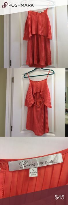 Lovers + Friends Pleated Sunkissed Dress - sz S Whimsical, cute and super summer fun Lovers and Friends dress from Urban Outfitters! Bright coral and pleated, semi-backless, it's sexy enough for hot summer evenings with cute boys, but the cool vibes coming off this piece are also a perfect addition to your festival gear 😉 Bundle and save big! No trades! Reasonable offers considered! Questions? Ask away! Lovers + Friends Dresses Mini