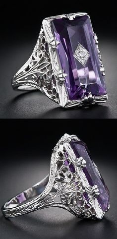 Art Deco amethyst and diamond filigree ring.