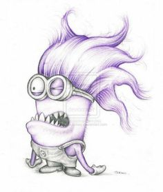 Items similar to purple minion minnion despicable me art colour pencil drawing signed print on etsy Amazing Drawings, Cute Drawings, Drawing Sketches, Pencil Drawings, Drawing Tips, Sketching, Minion Sketch, Minion Drawing, Disney Sketches