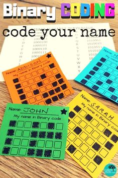 Introduce coding to children.  Binary Coding in an unplugged way. Start by decoding a picture and progress to decoding secret messages and creating your own name in Binary! A great classroom activity for grades 2 to 6. Students learn computational thinking and how computers read letters.  #coding #unpluggedcoding #binarycoding #STEM