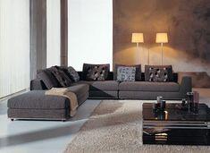 grey sectional | Dark Grey Color Microfiber Sectional Sofa with Chrome Legs [A6338SOHE ...