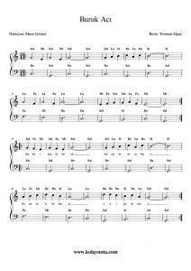 Buruk Aci Kolay Piyano Notasi Piyano Flut