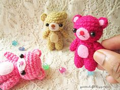 These tiny teddy bears measures around 2.5 inches length. Perfect for key chains and charms.