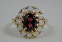Retro Garnet and Opal Ladies Ring Cocktail or Every by MSJewelers, $445.00