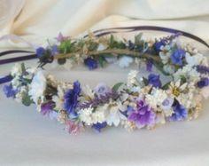 Boho Bridal Flower Crown Headpiece Floral hair wreath Headdress wedding acessories Lavender Purple halo bridal party circlet garland