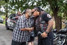 Ariki (Maori war chief or leader) Sonny Fatupaito shares the breath of life, a Hongi, with a member of the Mangu Kaha (Black Power) gang at… Mongrel, Biker Clubs, Black Power, Crime, Party, Maori, Parties, Crime Comics, Fracture Mechanics