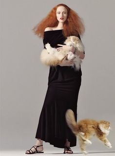Karen Elson as Grace Coddington for Vogue US, August 1998. Photo: Steven Meisel.