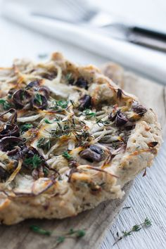 Rustic onion, black olive thyme tart