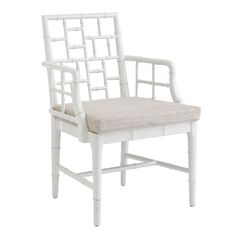 "Chinese Chippendale Chair – White, made of gmelina wood, 24.5""w x 21""d x 36""h, $424 on sale (reg $499)"