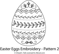 Stitch a set of four brightly-colored embroidered Easter eggs using this free hand embroidery pattern. The set is worked in basic surface embroidery stitches and can be finished as ornaments or embroidered onto a table runner or napkins.: Egg Pattern 2