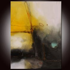 Gold Abstract Painting, Large Gold Abstract, Abstract Original Painting by Andrada 24x18 Yellow painting,Mixed media art