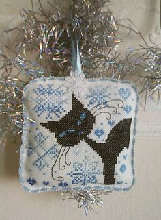 Completed finished cross stitch ornament cushion Christmas cat