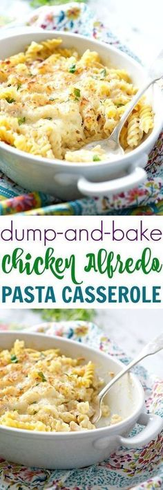 A total crowd-pleaser, this Dump and Bake Chicken Alfredo Pasta Casserole is an easy, cheesy, comfort food dinner for your busiest weeknights -- and you don't even have to boil the pasta! Huh I would boil pasta first. use real Alfredo Pasta Casserole, Casserole Dishes, Easy Casserole Recipes, Chicken Alfredo Casserole, Easy Recipes, Oven Recipes, Chicken Alfredo Pasta Baked, Easy Dinner Casserole, Crock Pot Recipes