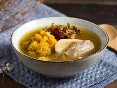 Yellow Fungus Chinese Yam and Maitake Mushroom Soup