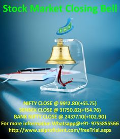 SP Stock Market Closing Bell for 28-Aug-2017 SP CLOSING BELL: NIFTY CLOSE @ 9912.80(+55.75) SENSEX CLOSE @ 31750.82(+154.76) BANK NIFTY CLOSE @ 24377.10(+102.90)