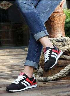 Women's #black leather shoe #sneakers with stripe pattern, sewing thread design, Lace up style, Round toe design, casual sport, athletic occasions.