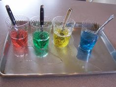 """Magic Potion/""""Exploding Cups""""-- Remove words from board that correspond with colors of potions. Would need extra time, colored dry erase markers. Primary Songs, Primary Singing Time, Kids Singing, Lds Primary, Rainbow Activities, Primary Activities, Potions For Kids, Lds Sunday School, When I Am Baptized"""